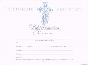 baby dedication certificate christian baby dedication certificate