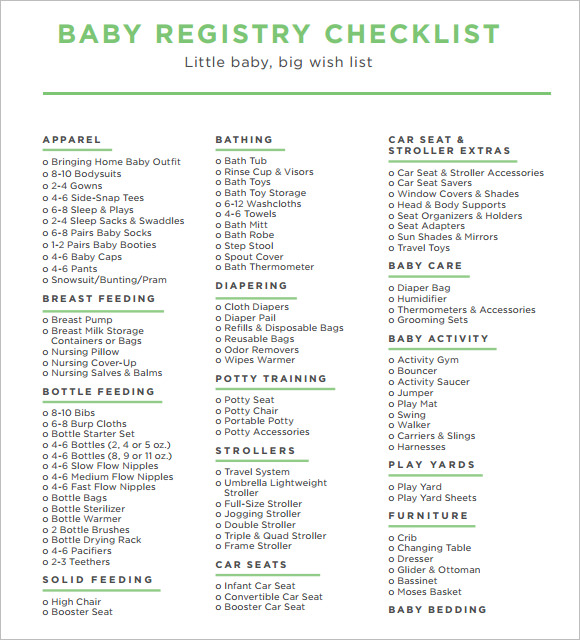 Baby Registry Checklist Template Business