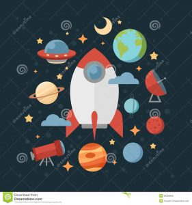baby shower banner template space theme banners cards flat astronomic symbols planets rocket stars telescope design invitations
