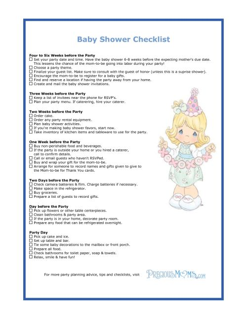 baby shower check list