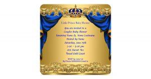 baby shower flyer baby shower boy little prince royal blue golden card rebffadaaabecaffc zknkm