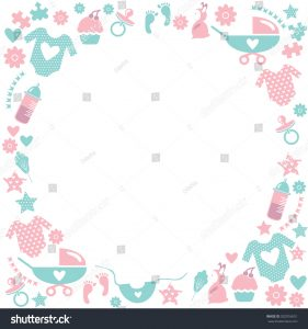 baby shower flyer stock vector circle baby frame cute greetings card for baby shower with babies accessories baby clothes baby
