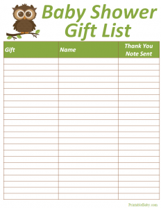 baby shower gift list baby shower gift list tracker
