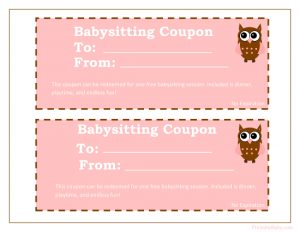 baby shower gift tracker printable baby sitting coupon in girls colors