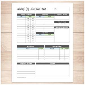 babysitter information sheet nanny log daily infant care sheet printable planning