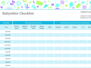 babysitter information sheets babysitter checklist with schedule