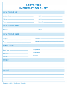 babysitter information sheets babysitter information sheet