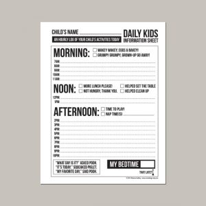 babysitter information sheets il xn gcg
