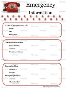 babysitter information sheets printable emergency contact list template