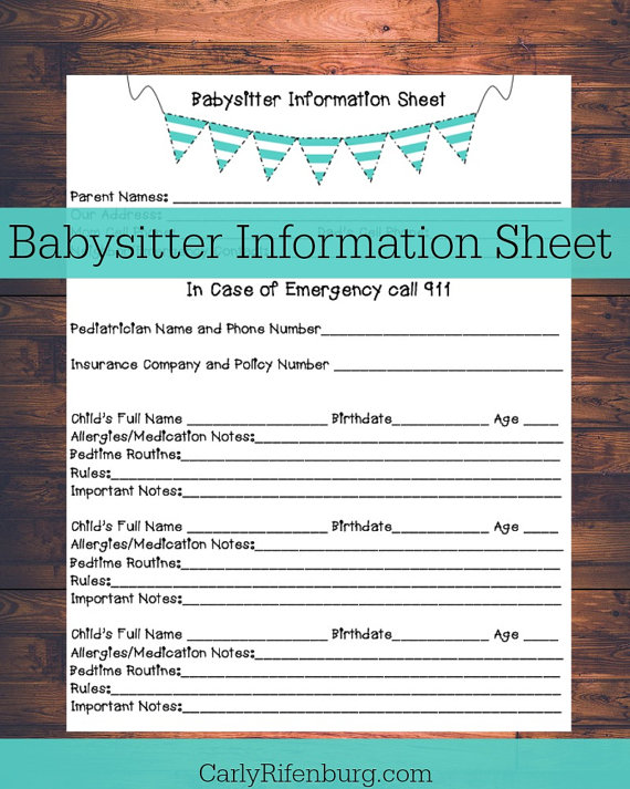 babysitters information sheet