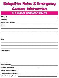 babysitters information sheet printable babysitter emergency contact form