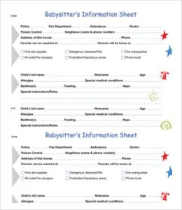 babysitters information sheet printable babysitter information sheet
