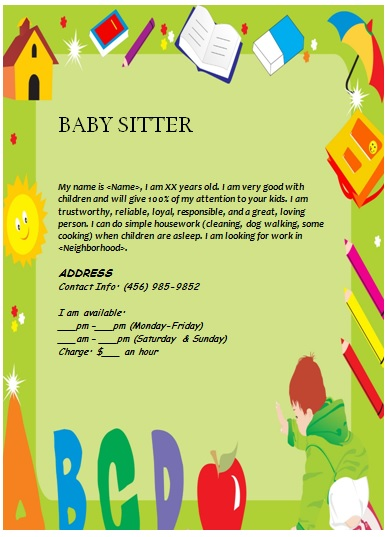 babysitting flyer ideas