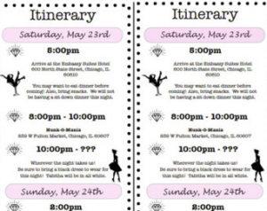 bachelorette itinerary template il x dnm