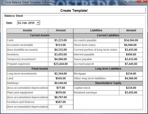 balance sheet template excel excel balance sheet template software
