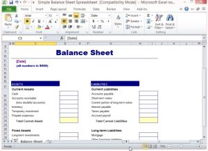 balance sheet template excel simple balance sheet template for microsoft excel