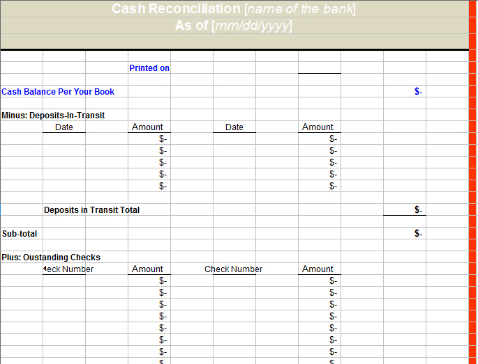 Bank Reconciliation Template Template Business