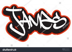 banner design template stock vector james graffiti font style name hip hop design template for t shirt sticker or badge