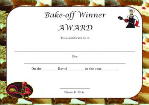 banner template word bake off winner certificate template