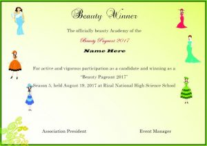 banner template word beauty pageant winner certificate template