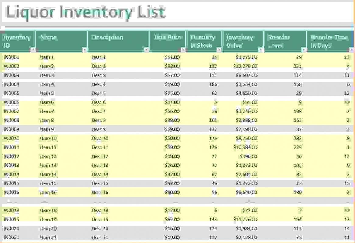 bar inventory list
