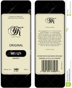 bar menu template gin label
