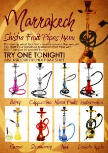 bar menu template shisha menu