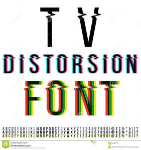 barber business cards distortion font tv three version color aberration vector