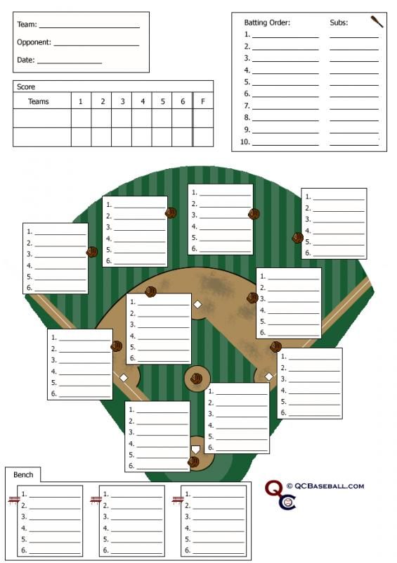 Baseball lineup sheet template business for Free softball lineup template