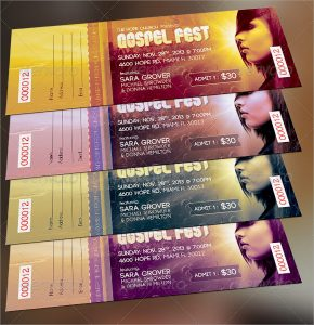 baseball ticket template gospel fest concert ticket template