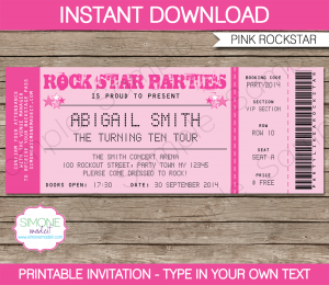 baseball ticket template printable rockstar party invitation