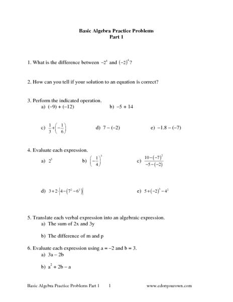 basic algebra problems