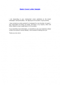 basic cover letter basic cover letter sample 1