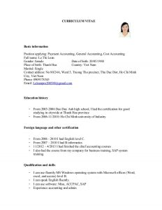 basic job application cv for payment accounting general accounting cost accounting