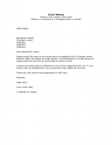 basic letter format two weeks notice letter with gratitude