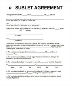 basic non disclosure agreement basic sublet agreement form