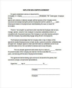 basic non disclosure agreement employee non compete agreement form