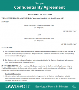 basic non disclosure agreement sample confidentiality agreement