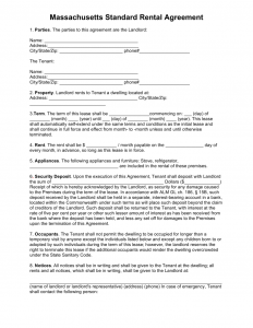 basic rental agreement fillable agreement templates perfect sample of massachusetts standard rental agreement with points of fillable information