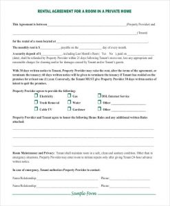 basic rental agreement fillable simple room rental agreement in private home pdf d