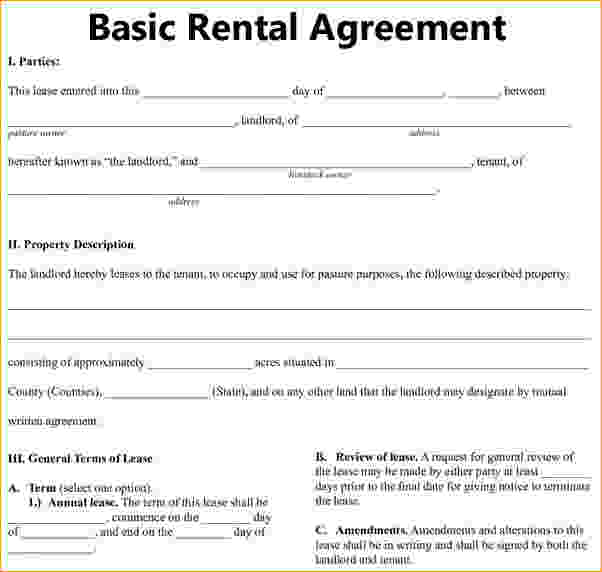 Residential Rental Contract : Basic rental agreement or residential lease template