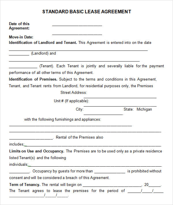 Basic Rental Agreement Or Residential Lease  Template Business