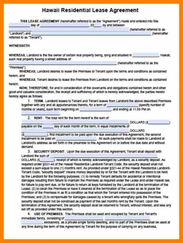 Basic Rental Agreement Or Residential Lease Word Doc Template Business