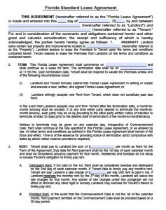 basic rental agreement or residential lease word doc florida standard residential lease agreement