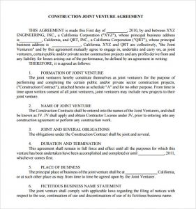 basic rental agreement pdf construction joint venture agreement template