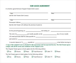 basic rental agreement template simple sublease agreement template