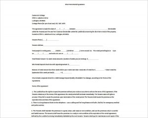 basic rental agreement word document basic rental agreement template model