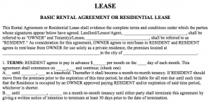 basic rental agreement word document sample