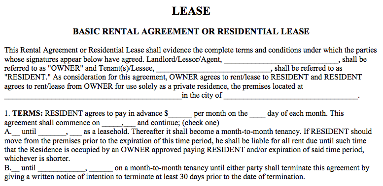 basic rental agreement word document