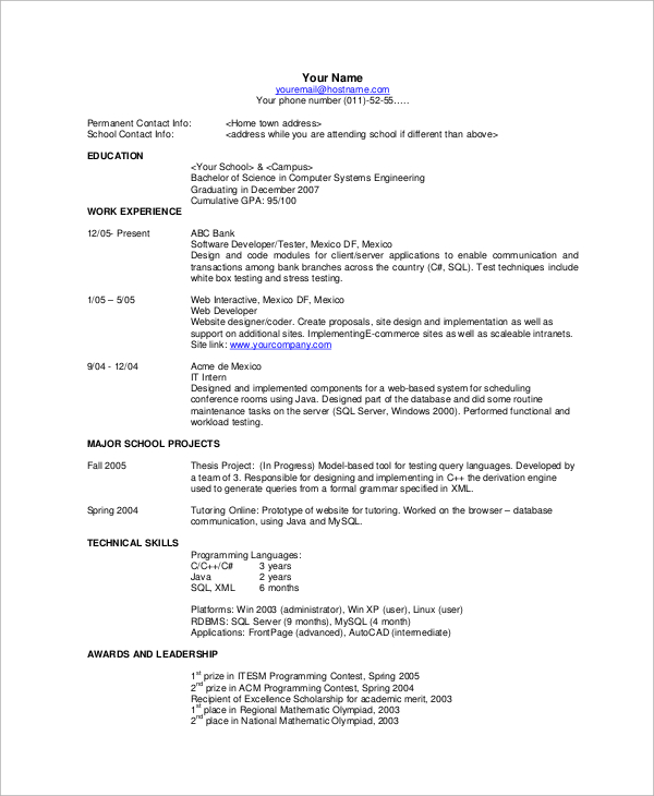 Sample Simple Resume Examples: Basic Resume Examples